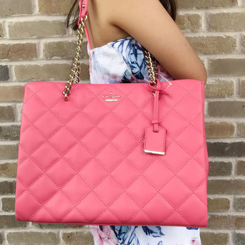 Kate Spade Emerson Place Phoebe Large Tote Chain Quilted Warm Guava Pink Coral