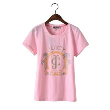 PEAP2Q Juicy Couture Palm Trees Graphic Tee T009 Women T-shirt Pink