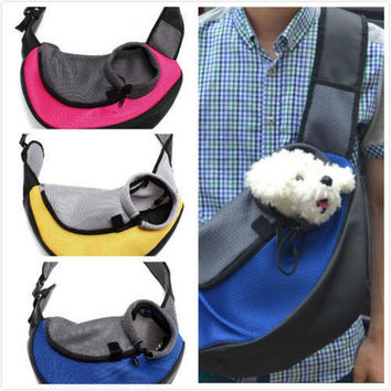 Pet Carrier Carrying Cat Dog Puppy Small Animal Sling Front Carrier Mesh Comfort Travel Tote Shoulder Bag Pet