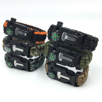 Survival Bracelet Rescue Paracord Parachute Cord Wristbands Emergency Rope Kits Flint Scraper Fire Starter Whistle Compass