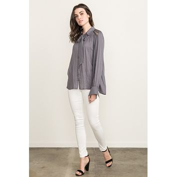 Charcoal Tie-Front Blouse
