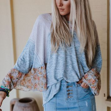Flower Patch Bell Sleeve Thermal Tunic - Light Blue