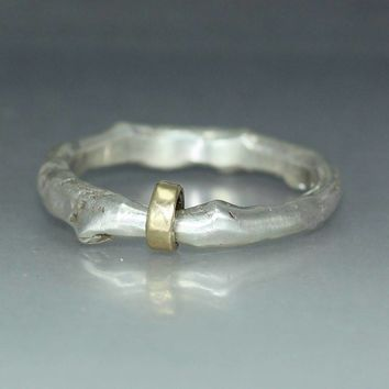 A handmade  Man Womans Silver Gold Wedding Band Organic  Ring Mens  Ring Rustic Silver  Ring