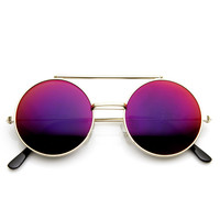 Retro Round Steampunk Mirrored Lens Flip Up Sunglasses 8966