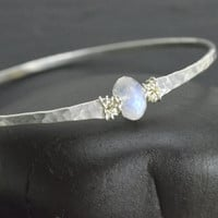 Moonstone Bangle Bracelet Sterling Silver Hammered Bangle Bracelet Moonstone Bracelet June Birthstone