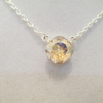 swarovski necklace single stone bridal, bridesmaid, silver, crystal golden shadow, designer inspired, classy