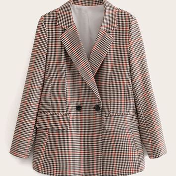 Lapel Neck Double Breasted Houndstooth Flap Pocket Blazer