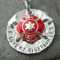 I love My Firefighter Necklace with Axe Shield | wirenwhimsy - Jewelry on ArtFire