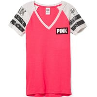 Fitted V-neck Tee - PINK - Victoria's Secret