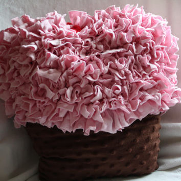 SALE...Pink Ruffle Cupcake Pillow...Chocolate Brown & Pink .. Shabby Chic,..Romantic, Minky Dot
