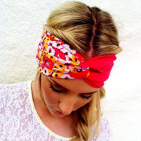 Floral Twisted Turban Headband Two Color Pink Stretchy Head bands Hair Coverings
