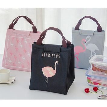 Cute Cartoon Flamingo Lunch Bag Thermal Insulation Bag Portable Travel Picnic Food Cooler Bag Warm Keeping Storage Tote