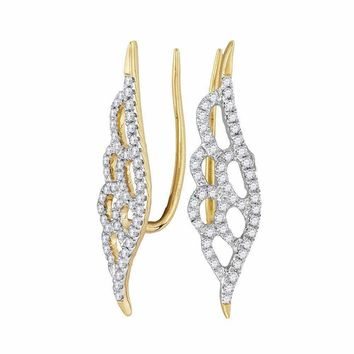 10kt Yellow Gold Women's Round Diamond Winged Climber Earrings 1-3 Cttw - FREE Shipping (USA/CAN)