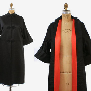 Vintage 50s SILK JACKET / 1950s Black Silk Asian Opera Evening Swing Coat S - M