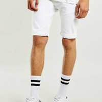 White Spray On Denim Shorts - Men's Shorts - Clothing