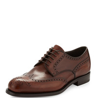 Men's Leather Wing-Tip Lace-Up, Brown - Prada - Brown