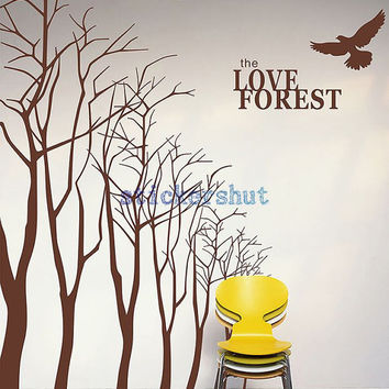 forest tree wall decal nursery birch tree wall decal with birds  vinyl wall stickers for living room wall decor