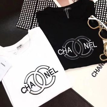 """CHANEL"" Women Hot letters print T-shirt top"