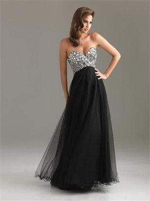 Strapless A-line Sweetheart Sequin Chiffon Black Floor-length Prom Dress PD0856