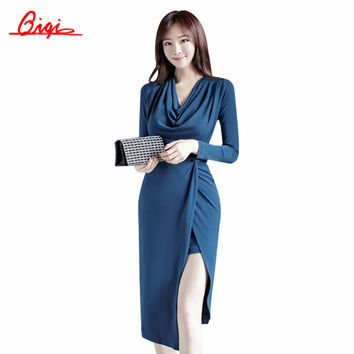 Qiqi Womens Autumn Elegant Sexy Party Dresses Split Blue Vintage Slim Work Office Business Casual Sheath Fitted Pencil Dress