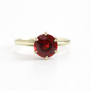 Antique 14k Yellow, 10k White Gold Art Deco Garnet Ring - 1920s Size 5 Vintage 1 Carat + Red Gemstone Solitaire Flower Design Fine Jewelry