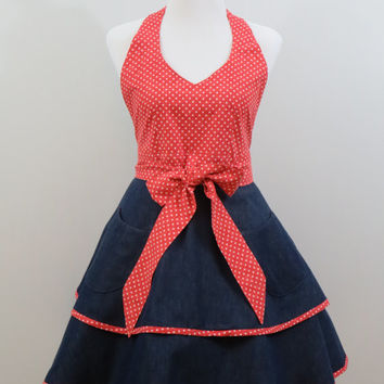 Womens Apron, Retro Style, Halter Style, Full Double Layered Skirt, Dark Wash Denim and Tomato Red & White Polka Dots, 100% Cotton