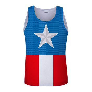 2018 Men Captain America Summer gyms Fitness Tank Top fashion mens Crossfit clothing tight breathable sleeveless shirts Vest