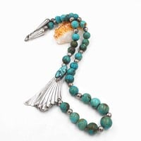 Vintage Carol Felley Sterling Silver & Turquoise Necklace, Offset, Spiderweb Turquoise, Fan Pendant, Beaded, Superb Statement! #c532