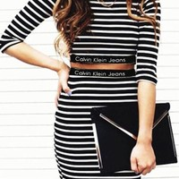 onetow One-nice? Calvin Klein Long-Sleeved Stripe Two-Piece dress Skirt Suit H-A-KSFZ