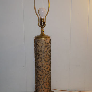 Antique Brass Wallpaper Roller Cylinder Table Lamp
