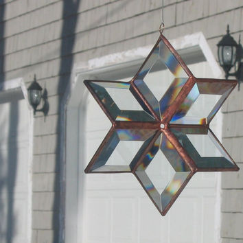 3D Clear Beveled Glass Star Suncatcher with Copper Lines - Large