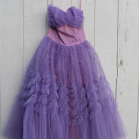 Vintage Purple Ruffle Dress- 1950s- Prom- Bridesmaid- Formal- Party- Tulle- Wedding- Strapless- 25 26 Waist- Sweetheart