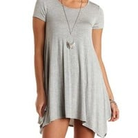 Heather Gray Jersey Knit Trapeze T-Shirt Dress by Charlotte Russe