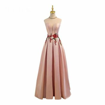 Green Pink O-Neck Sleeveless Prom Dresses Beading Embroidery Simple Floor Length Party Frocks Custom Made