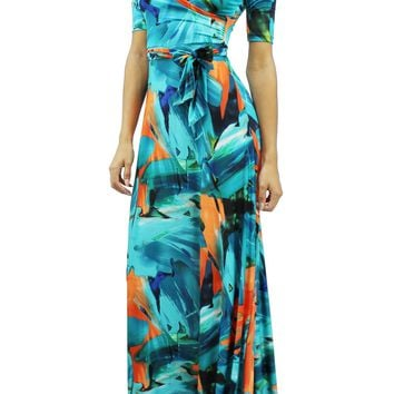 Multi Colored V-Neck Short Sleeve Self Tie Up Flare Stretchy Maxi Dress