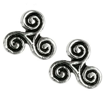 Chenier Celtic Triskelion Triple Spiral - Stud Earrings