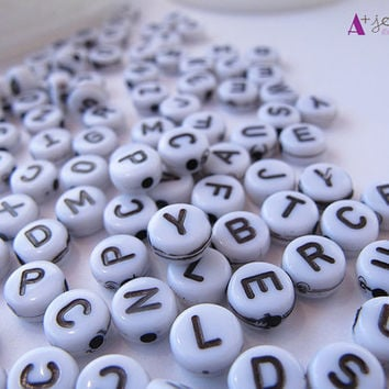Alphabet beads, letter, letters, letter beads, white, bracelet, jewelry, jewelry supplies, necklaces, word bracelet, 200 package, acrylic.