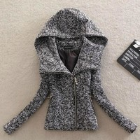 Hooded side zippers tweed wool lady's coat of cultivate one's morality coat