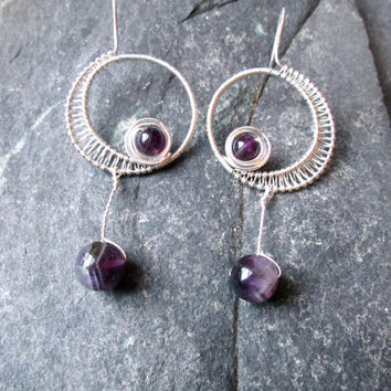 Amethyst Silver Earrings - Wire Wrap Moon Goddess Long Dangle Earrings with French Hooks - Purple Amethyst Gemstones - Pagan Wicca Earrings