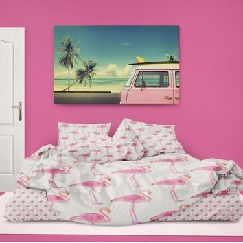 Preppy Pink Flamingos Eco friendly Comforter from Surfer Bedding