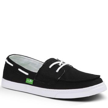 Sanuk Sailaway Black White Slip-On Sidewalk Surfers