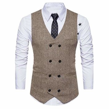 Mens Tweed Check Double Breasted Waistcoat Slim Fit Suit