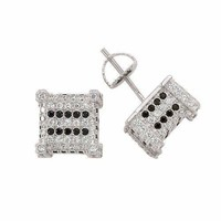 925 Solid sterling silver men earrings with accent