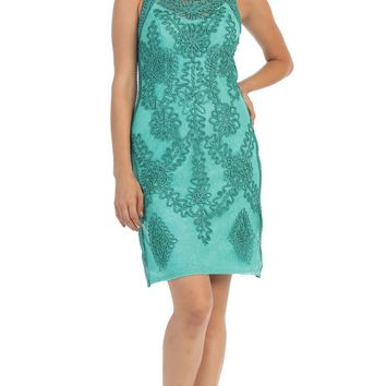 May Queen - Sleeveless Illusion Soutache Embellished Cocktail Dress