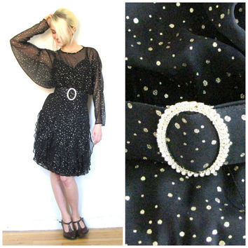 70s vintage dress / 80s black punk / party dress / Belted dolman sleeve / Gold sparkle / Rhinestone / Sheer long sleeve size S/X