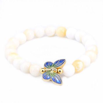 8mm Golden Tridacna 18K Gold Plated Tridacna Butterfly Cloisonne Bracelet