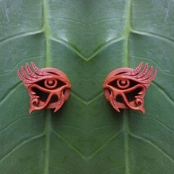 "Wood tunnels, eye of horus, 2g, 0g, 00g, 7/16"", 1/2"", 9/16"", 5/8"", 11/16"", 13/16"", 7/8"", 15/16"", 1 inch ear gauges, wood plugs"