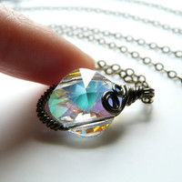 Wire Wrapped Aurora Borealis Swarovski Crystal Pendant Necklace - Magical Lantern Vol.1