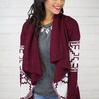 Ethnic Print Sweater Cardigan