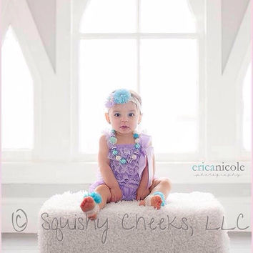 Purple and Aqua Lace Romper Outfit, Chunky Necklace, Headband and Barefoot Sandals - Newborns to Toddlers - 1st Birthday Outfit - Smash Cake